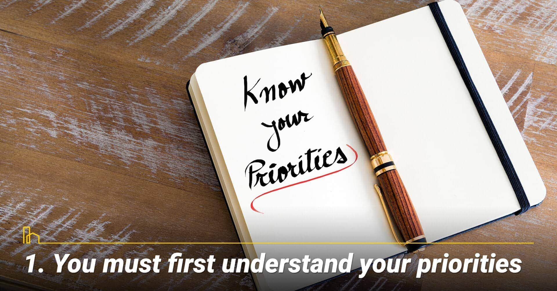 You must first understand your priorities, prioritize your needs