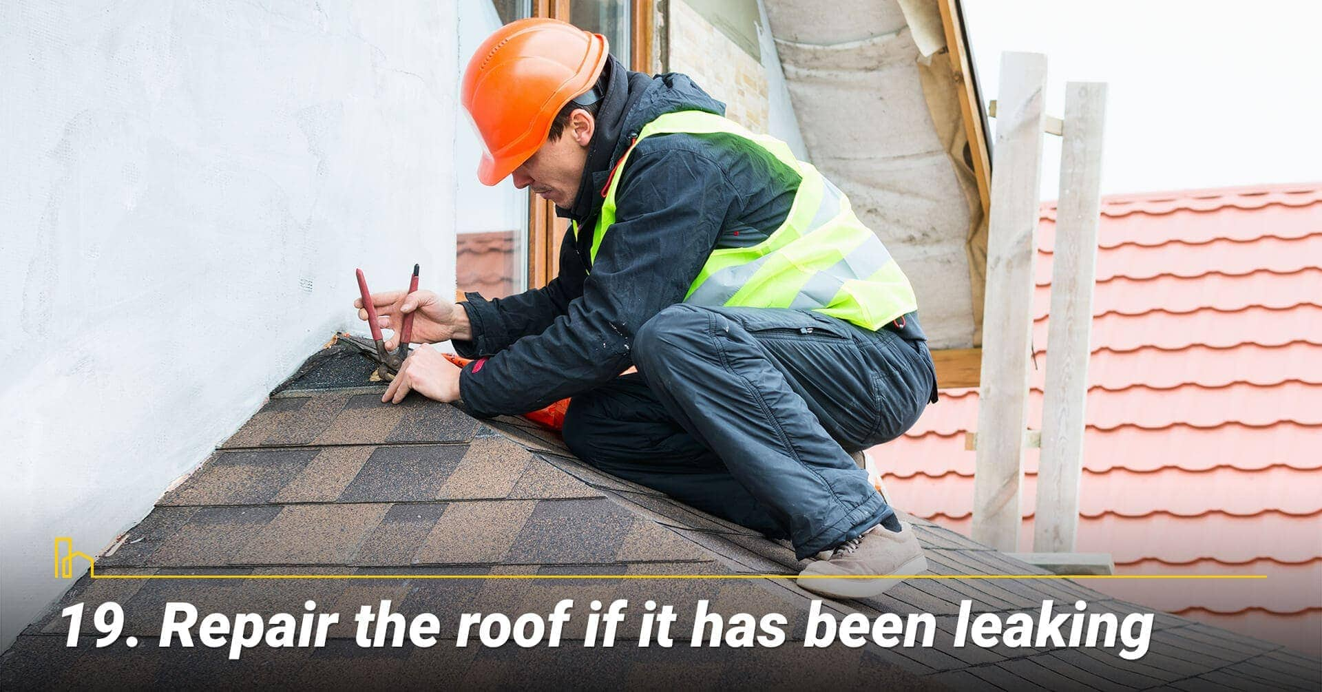 Repair the roof if it has been leaking, waterproof the roof