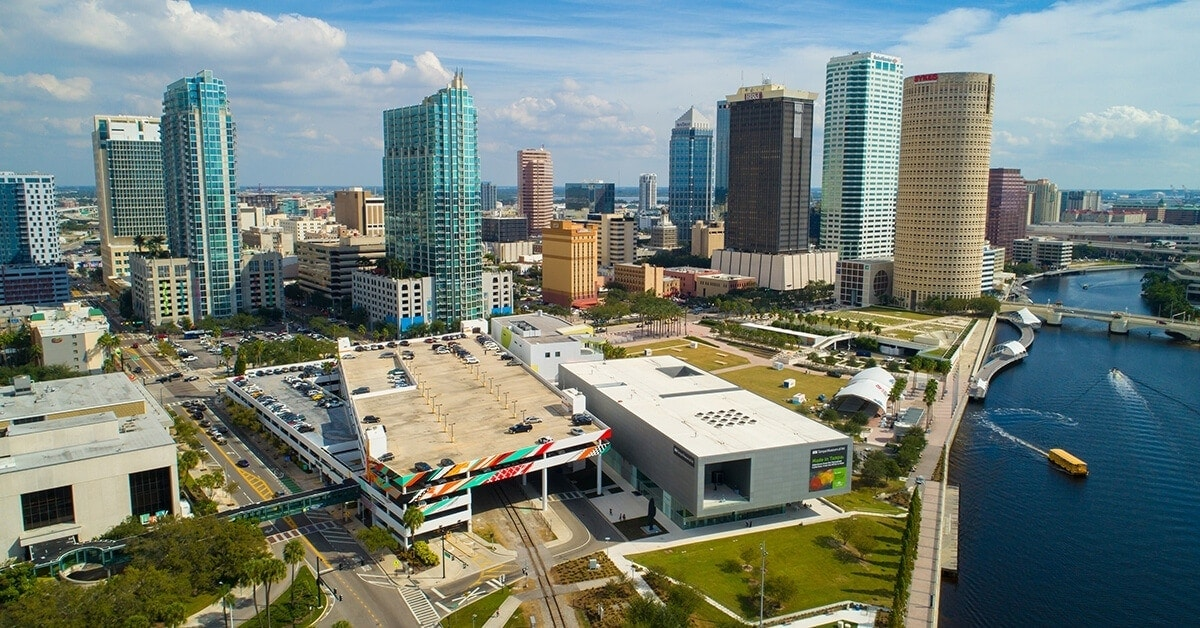 Sprawling city with an array of transportation options in Tampa, Florida